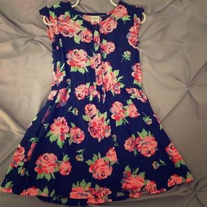 Navy blue floral dress girls size 3t